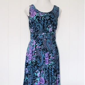 S. Roberts Dresses - 1980's Floral Sleeveless Dress by S.Roberts Sz 7